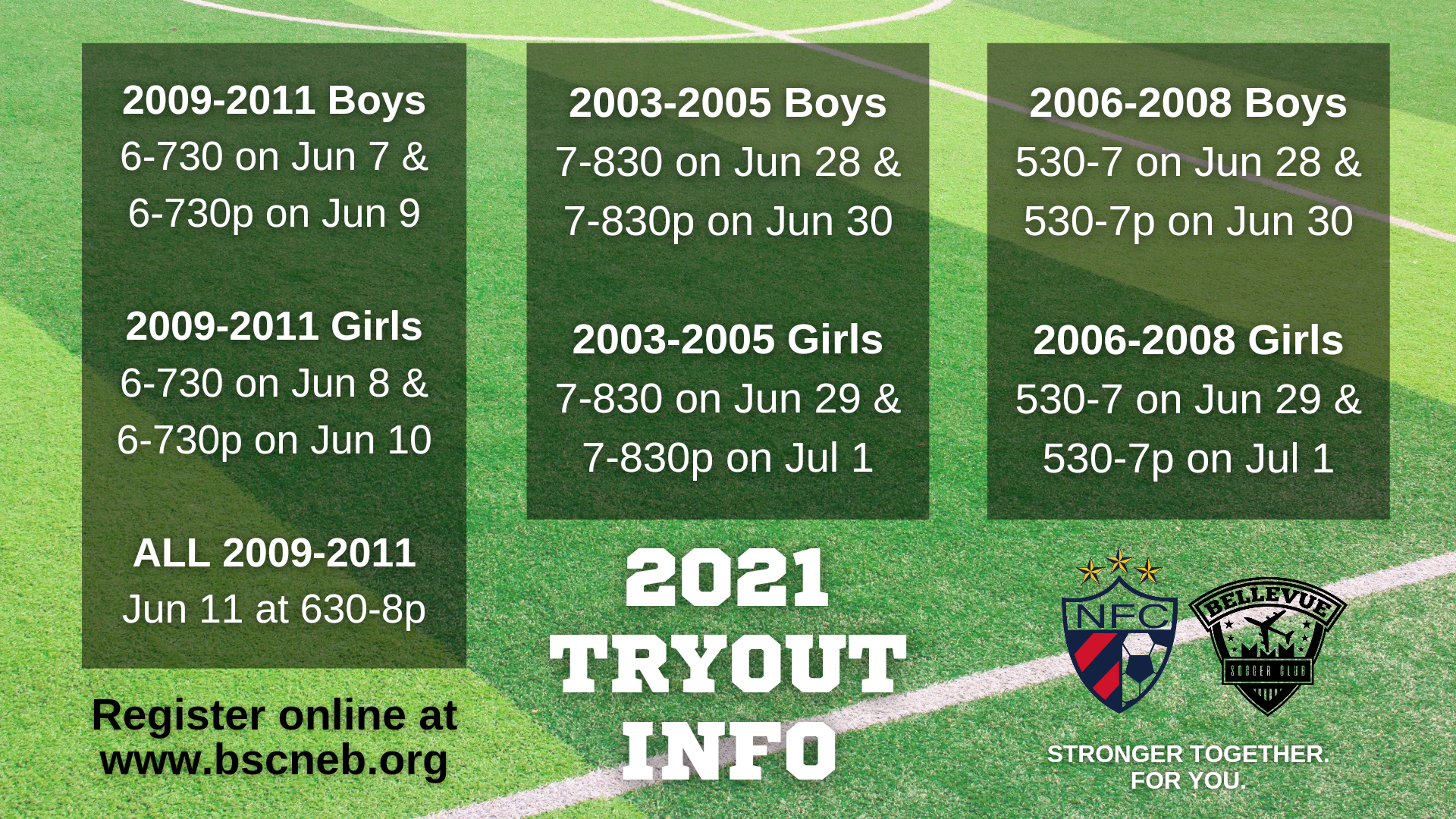 Tryout schedule